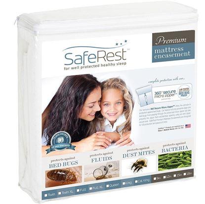图片 SafeRest 顶级纯棉 防水抗过敏床垫保护套(6-9 吋)